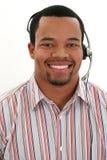 Mann-tragender Kopfhörer Stockfotografie