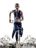 Mann Triathlon ironman Athletenschwimmerlaufen stockfotos