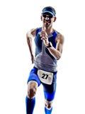 Mann Triathloneisenmannathletenläuferlaufen Stockbilder