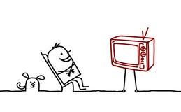 Mann u. Fernsehapparat Stockfotos