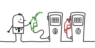 Mann- u. Kraftstoffwahl Stockfotos