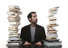 Mann und Buch Stockfoto