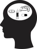 Mann und Denken und Medizin lizenzfreie abbildung