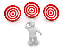 Mann und drei Ziele Stockbild
