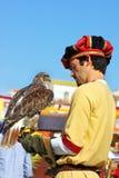 Mann und ein Falke. stockfotografie