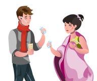 Mann und eine Frau sind krank stock abbildung