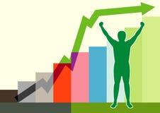 Mann und Finanzgraphikzeile Stockbilder