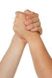 Mann und Frau in Arm wrestlin lizenzfreie stockbilder