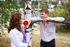 Mann und Frau auf einem romantischen Datum Stockbild