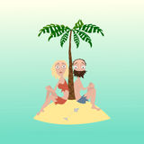 Mann und Frau auf einer einsamen Insel Stockbild