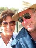 Mann und Frau auf Strand Stockfotografie