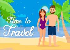 Mann und Frau in den Badeanzügen auf Strand-Illustration stock abbildung