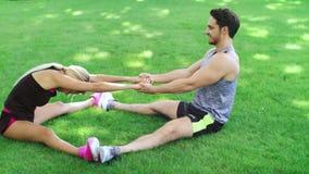 Mann und Frau des glücklichen Paars, die Übung auf Gras im Sommerpark ausdehnend tut stock video
