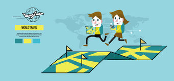 Mann und Frau, die auf der Karte laufen Weltreise Konzept stock abbildung