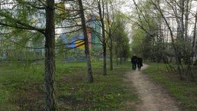 Mann und Frau, die auf ein Weg umgebene grüne Bäume gehen stock footage