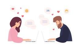 Mann und Frau, die an den Laptops, unter Verwendung der Datierung von Website und des Plauderns sitzen Romantische Paare, die Ges stock abbildung