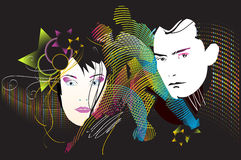 Mann und Frau, die Disco lieben Stockfotos