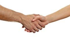 Mann und Frau, die Hände rütteln. Stockbild
