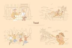 Mann und Frau, die Weise auf der Karte, legend auf Strand im Recliner, Gruppe Freunde vor Packwagen, Sommerzeitferien findet stock abbildung