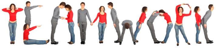 Mann und Frau, die Wortteamwork bilden Lizenzfreies Stockfoto