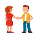 Mann und Frau, die zusammen stehen und Hände rütteln stock abbildung