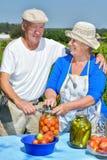 Mann und Frau im Garten Stockfotografie
