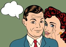 Mann und Frau lieben Paare in der komischen Art der Pop-Art Lizenzfreies Stockfoto