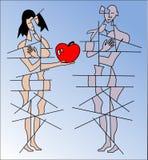 Mann und Frau mit Apfel Stockfoto