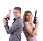 Mann und Frau mit den Armen Lizenzfreies Stockfoto