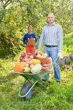 Mann und Frau mit Ernte Lizenzfreies Stockfoto