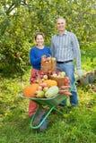 Mann und Frau mit Ernte Lizenzfreies Stockbild