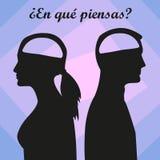 Mann und Frau mit leerem Gehirn Spanischer Text lizenzfreie abbildung
