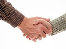 Mann und Frau rütteln Hände lizenzfreies stockfoto