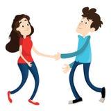 Mann und Frau rütteln Hände Lizenzfreie Stockfotografie
