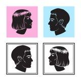 Mann und Frau stellen Profil, Mann und weibliches Schattenbild gegenüber Vektor vektor abbildung