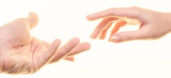 Mann und Frauen ` s Hände Stockfoto