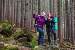 Mann-und Frauen-Wanderer, die in dichtem altem Forest Smiling und im Zeigen bleiben Stockfotografie