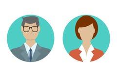 Mann- und Frauenavataraprofil im flachen Entwurf Mann und weibliche Gesichtsikone Auch im corel abgehobenen Betrag vektor abbildung