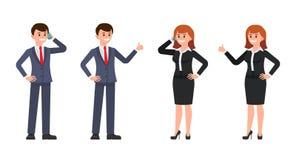 Mann- und FrauenBüroangestelltzeichentrickfilm-figur Vector Illustration des Mannes und des weiblichen Gebrauchstelefons und des  stock abbildung
