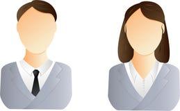 Mann- und Frauenbenutzerikone Stockfoto