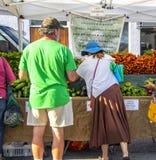 Mann- und Fraueneinkaufen für Gemüse bei Cherry Street Farmers Market lizenzfreie stockfotos