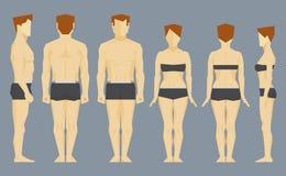 Mann- und Frauengesicht und Profilkörper Stockbild