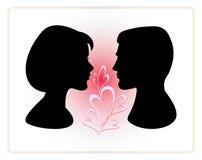 Mann- und Frauengesichtsvektorprofile Lizenzfreie Stockbilder