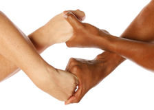 Mann- und Frauenholdinghände Stockfoto
