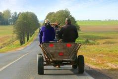 Mann- und Frauenreiten in einem Wagen Stockbild