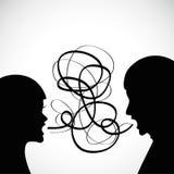 Mann- und Frauenschrei an einander stock abbildung