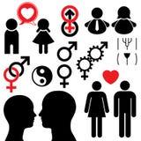 Mann- und Frauensymbolsetpaare Stockfotos
