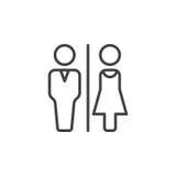Mann- und Frauentoilette zeichnen Ikone, Entwurfsvektorzeichen, das lineare Piktogramm, das auf Weiß lokalisiert wird lizenzfreie stockfotos