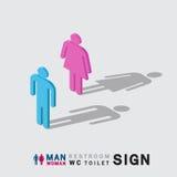Mann- und Frauentoiletten-WC-Toilette unterzeichnen isometrisches Lizenzfreies Stockfoto