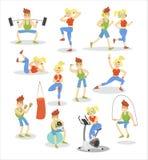 Mann- und Frauentrainierensatz, Eignungspaar, das Übung in den Turnhallenkarikatur-Vektor Illustrationen tut lizenzfreie abbildung